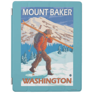 Skier Carrying Snow Skis - Mount Baker, WA iPad Cover