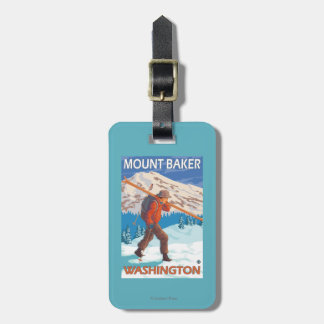 Skier Carrying Snow Skis - Mount Baker, WA Luggage Tag