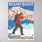 Skier Carrying Snow Skis - Mount Baker, WA Poster