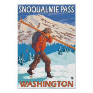 Skier Carrying Snow Skis - Snoqualmie Pass, WA Poster