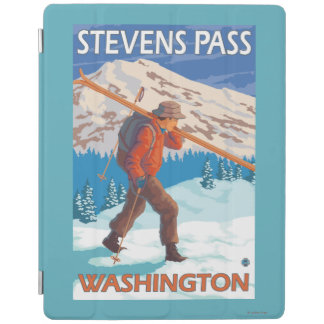 Skier Carrying Snow Skis - Stevens Pass, WA iPad Cover