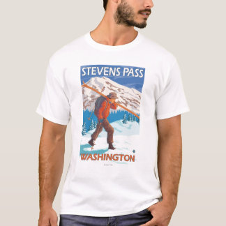 Skier Carrying Snow Skis - Stevens Pass, WA T-Shirt