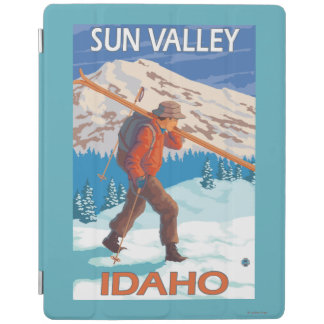 Skier Carrying Snow Skis- Vintage Travel 2 iPad Cover
