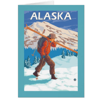 Skier Carrying Snow Skis- Vintage Travel 3 Card