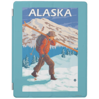 Skier Carrying Snow Skis- Vintage Travel 3 iPad Cover