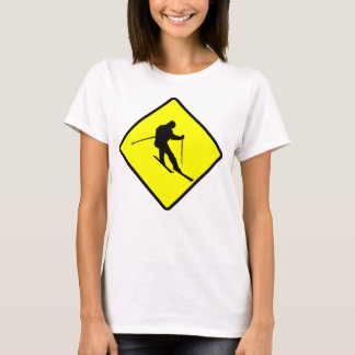 Skier Crossing Sign T-Shirt