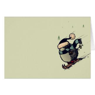 Skier hedgehog card