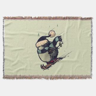 Skier hedgehog throw blanket