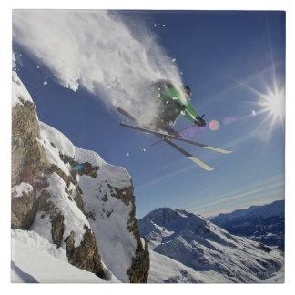 Skier in Midair Ceramic Tiles