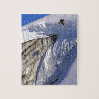 Skier jumping off Glacier wall in Greenland Jigsaw Puzzle