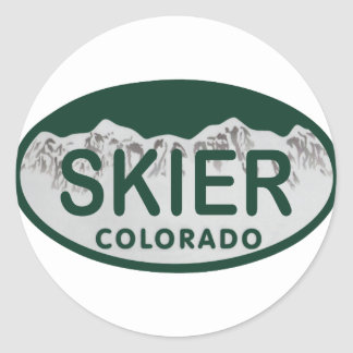 skier license oval classic round sticker