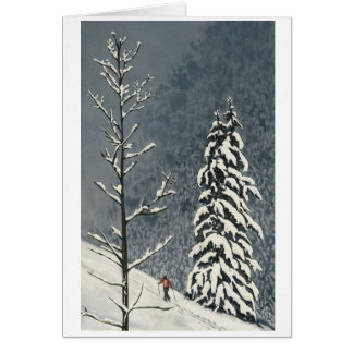 Skier out on the snowy hillside card