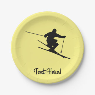 Skier Paper Plate