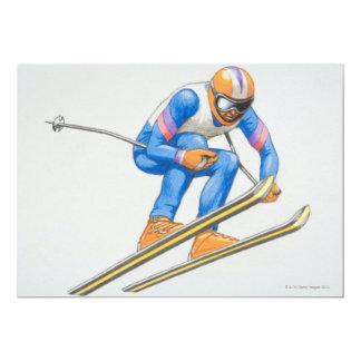 "Skier Performing Jump 5"" X 7"" Invitation Card"