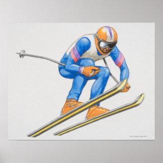 Skier Performing Jump Poster