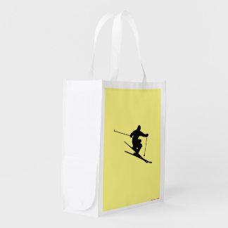 Skier Reusable Grocery Bag