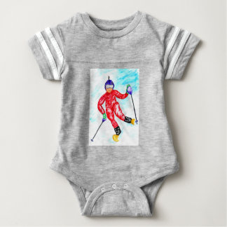Skier Sport Illustration Baby Bodysuit