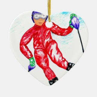 Skier Sport Illustration Ceramic Heart Ornament
