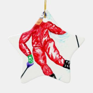 Skier Sport Illustration Ceramic Star Ornament