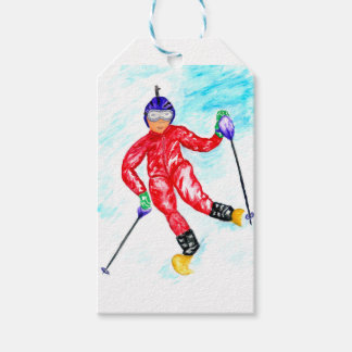 Skier Sport Illustration Gift Tags