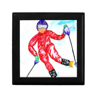 Skier Sport Illustration Keepsake Boxes