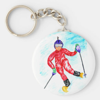 Skier Sport Illustration Keychain