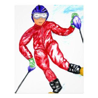 Skier Sport Illustration Letterhead