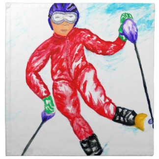 Skier Sport Illustration Napkin