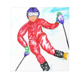 Skier Sport Illustration Notepad