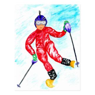 Skier Sport Illustration Postcard