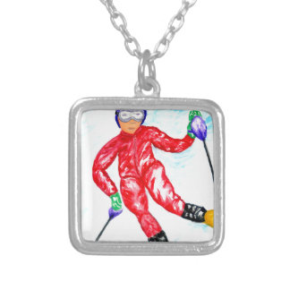 Skier Sport Illustration Silver Plated Necklace