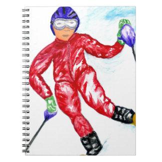 Skier Sport Illustration Spiral Notebook