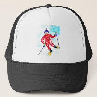 Skier Sport Illustration Trucker Hat