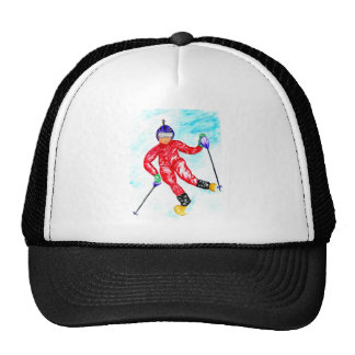 Skier Sport Illustration Trucker Hat