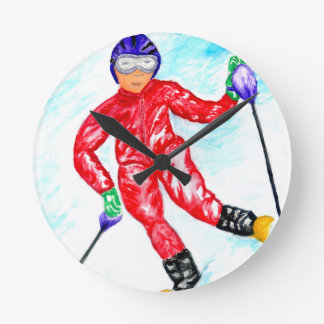 Skier Sport Illustration Wall Clocks