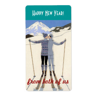skiers kiss - happy new year from both of us shipping label