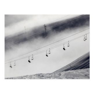 Skiers on a chair lift postcard