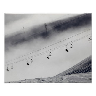 Skiers on a chair lift poster