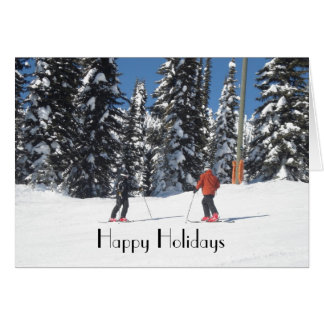 Skiers on a Mountain with Snow Covered Trees Card