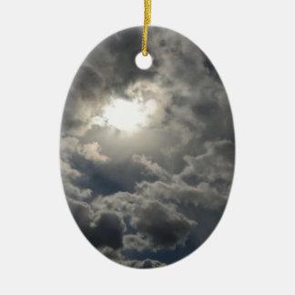 Skies Ceramic Oval Ornament