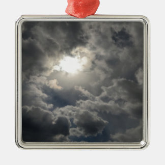Skies Silver-Colored Square Ornament