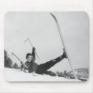 Skieur 2 de femme tapis de souris