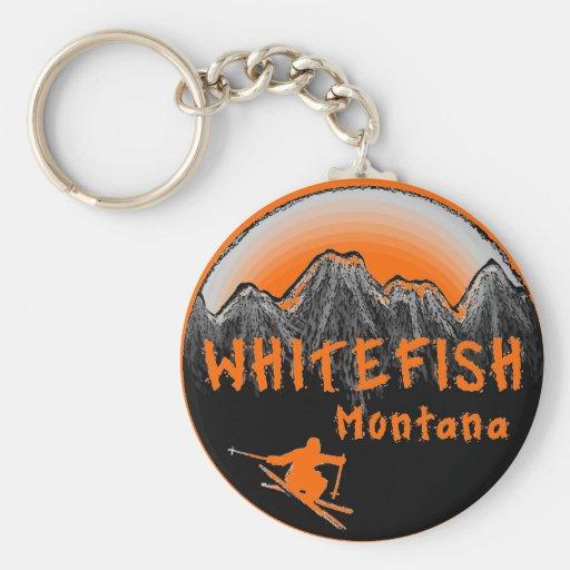 Skieur artistique du Montana de poisson à chair bl Porte-clefs