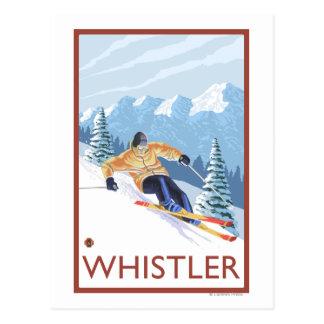 Skieur de neige de Downhhill - Whistler AVANT JÉS Cartes Postales