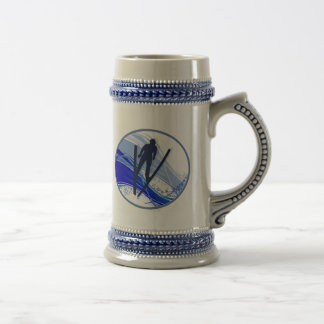 Skiing and Snowflakes Beer Stein
