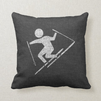 Skiing At Play Throw Pillow