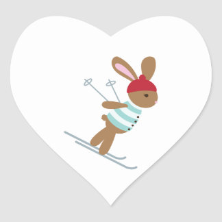 Skiing Bunny Heart Sticker
