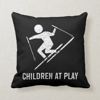 Skiing Children At Play Throw Pillow