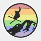 Skiing Classic Round Sticker