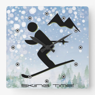 Skiing Design Wall Clock
